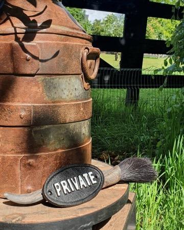 Private bordje ijzer zwart - Benard's Woonaccessoires