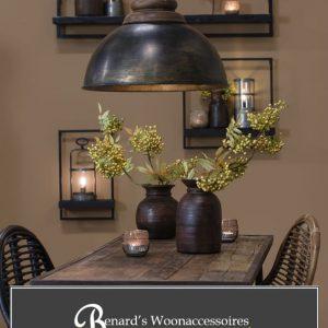 Landelijke hanglamp zink zwart - Bij Benard's Woonaccessoires