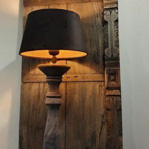 Balusterlamp antraciet met kap fluweel zwart gold | Benard's Woonaccessoires