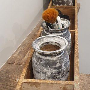 steenmal 3vaks - oud hout - een handige opberger voor in de badkamer of keuken