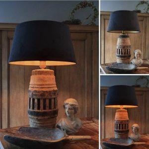 Oude wielnaaf lampenvoet een uniek & authentiek item voor in een landelijk interieur | Benard's Woonaccessoires