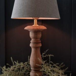 Baluster tafellamp bruin 35 cm met linnen kap | Benard's Woonaccessoires