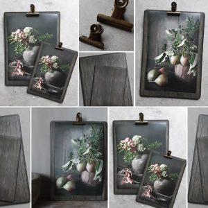 Klembordje met vintageklem en losse afbeelding | Benard's Woonaccessoires