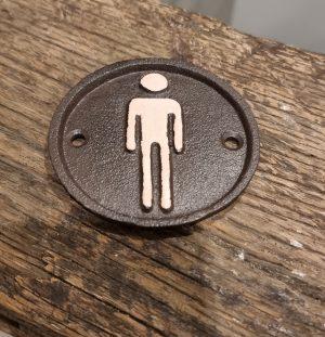 Toilet bordje ijzer heren | Benard's Woonaccessoires