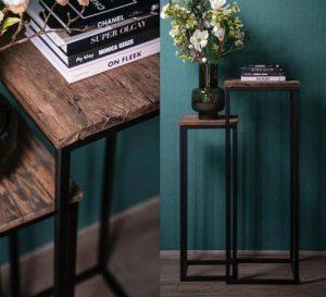 Bijzettafel oud hout gemaakt op zwart ijzer onderstel   voor een landelijk interieur   Benard's