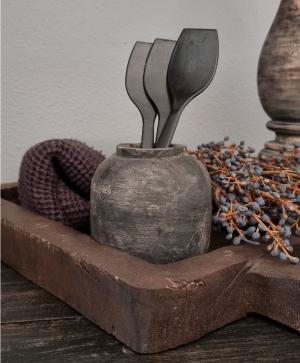 Houten potje grijs, in een mooie oud verweerde kleur   Benard's Woonaccessoires