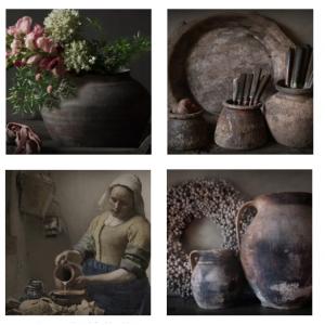 Keukenpaneel stenen kruik met oren afgedrukt op een hitte en vochtbestendige plaat   Benard's Woonaccessoires
